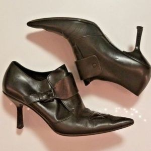 GUCCI Black Leather Pointed Toe Ankle Booties, 7